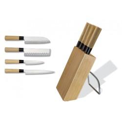 Taco de madera con 4 cuchillos japoneses